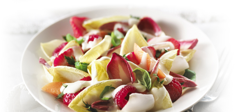 Summer fresh endive and fruit salad
